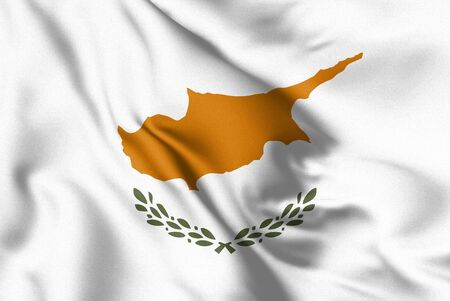 Cyprus flag blowing in the wind. Background texture. 3d Illustration. Zdjęcie Seryjne