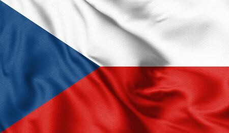 Czech Republic flag blowing in the wind. Background texture. 3d Illustration.
