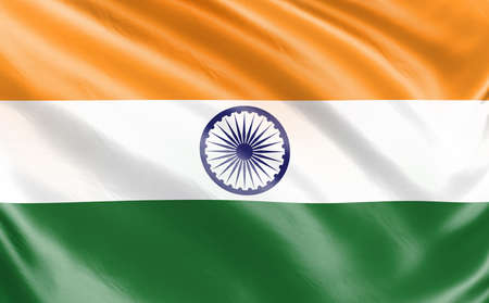 Banner. Realistic flag. India flag blowing in the wind. Background silk texture. 3d illustration. Stock fotó - 152488482