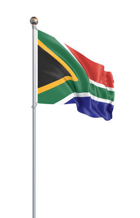 Flag of South Africa blowing in the wind. Background texture. 3d rendering; waving flag. - Illustration.