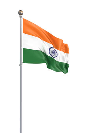 India flag blowing in the wind. Background texture. 3d rendering, wave, 3d illustration. - Illustration. Isolated on white.
