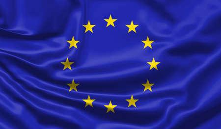 Realistic flag. Waving flag of the European Union. 3d illustration.