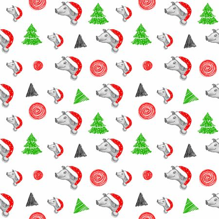 Little pig in santa claus hat background