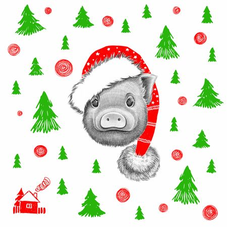 Graphic little pig in Santa Claus hat Standard-Bild