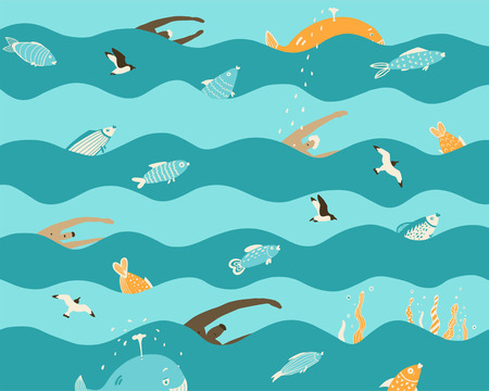 Men swim in the sea on the waves with fish and whales. Seagulls fly by the sea. Seamless children's wallpaper