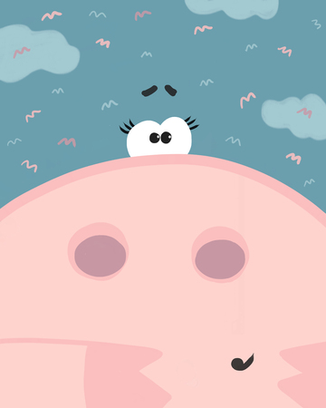 The snout of a pig with blue sky and clouds. A mini-pig during a summer day under the blue sky. Vector pig