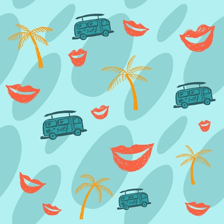 Summer blue background with palm trees, bus and lips. Summer bus. Coffee machine. Sea background