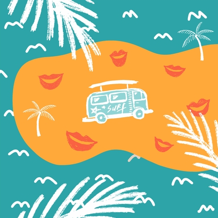 Summer background with lips