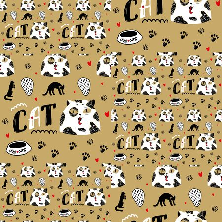 Seamless pattern with cat portrait. White kitty with black spots and big eyes. Portrait of a cat. Traces of cat paws. Pet bowl. Tangle and hearts on a gold background. Pet vector elements. Inscription kitty. Gold background Illustration