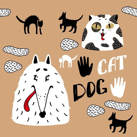 Dogs with cats live well. Best friends of dogs and cats. Dogs love cats. Pet silhouettes.