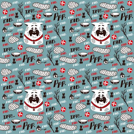 Seamless pattern with white bulldog. Dog with a red ball. Dog bowl. Pet on the blue background. Doghouse