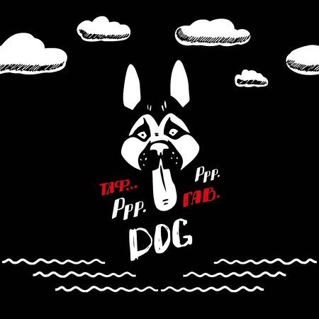 Husky stuck out his tongue and smiled. Beautiful husky on a black background. Huskys muzzle in the vector. Dog looks at the clouds Ilustração