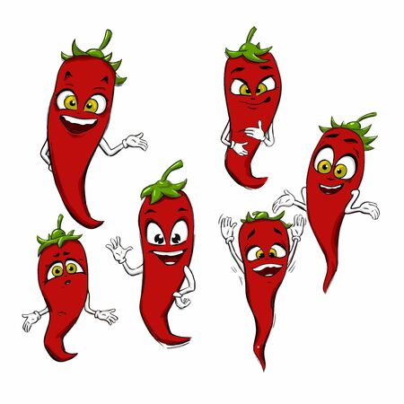 Set simple sketch icon red hot chili peppers and bell peppers black line isolated on white background. Doodle, cartoon drawing illustration. Vegetables. Abstract design . Logotype art. Fashionable colored peppers in vector Logo