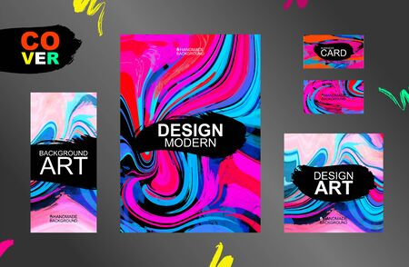 Cool modern graphic design for packaging, corporate identity, business cards, posters. Watercolor stain vector cards for design. Several different hand-drawn patterns. Graphic design. Editable templates for printing products.