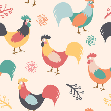 Beautiful pattern with roosters, branches and flowers on background. Vector illustration. Çizim