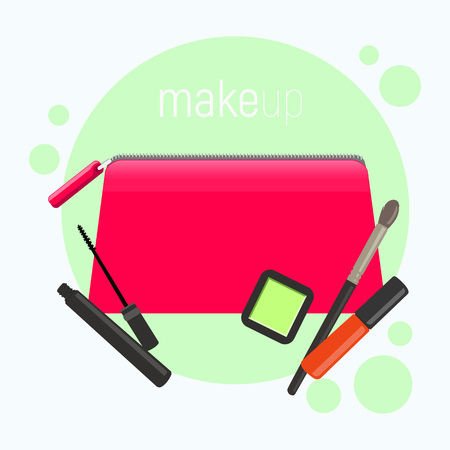 Bright pink cosmetic bag. Cosmetic bag with tools for professional make-up: lipstick, mascara,eyeshadow and cosmetic brush. Vector illustration.