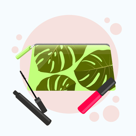 Cosmetic bag with a pattern of tropical leaves. Cosmetic bag with tools for professional make-up: lipstick, mascara. Vector flat illustration.