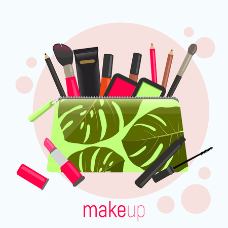 Cosmetic bag with a pattern of tropical leaves. Cosmetic bag with tools for professional make-up: lipstick, mascara. Vector illustration.
