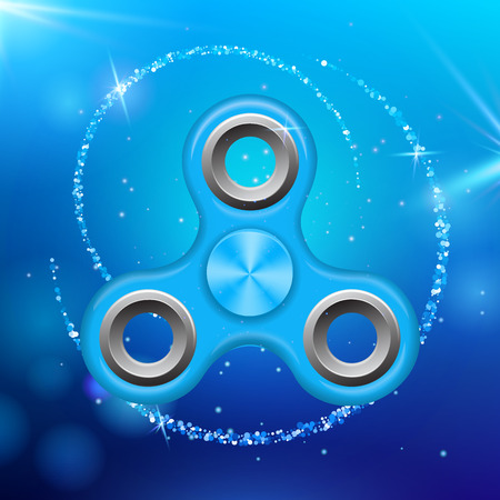 Blue colorful spinner on an abstract background with blue luminous backdrop. Abstract background with blue luminous backdrop. Modern childrens blue toy - spinner. Illustration