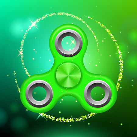 Green colorful spinner on an abstract background with green luminous backdrop. Abstract background with green luminous backdrop. Modern childrens green toy - spinner. Illustration