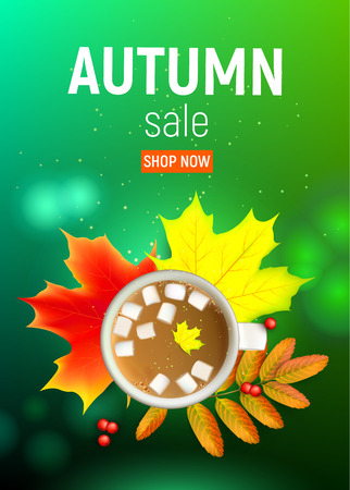 Sales banner with maple autumn leaves and rowan branches with ashberry and cup of coffee with marshmallow on a green . Autumn maple leaf and rowan branches with ashberry and cup of coffee with marshmallow on a green illustration