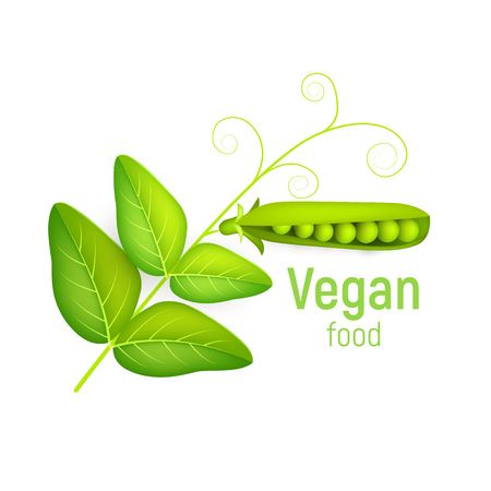 Pea pod with leaves isolate on white background. Vegetable 3d vector. Vector illustration. Illustration