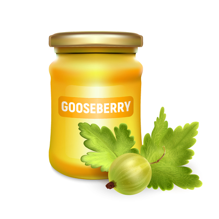 Glass jar with jam, configure or honey with realistic gooseberry on white background. Vector illustration. Mock up mason jar with realistic gooseberry on white background. Illustration