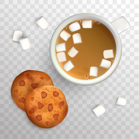 マシュマロとコーヒーとチョコレートとクッキーのカップ。平面図です。杯のコーヒーと朝食、分離ベクトル図のクッキー。  イラスト・ベクター素材