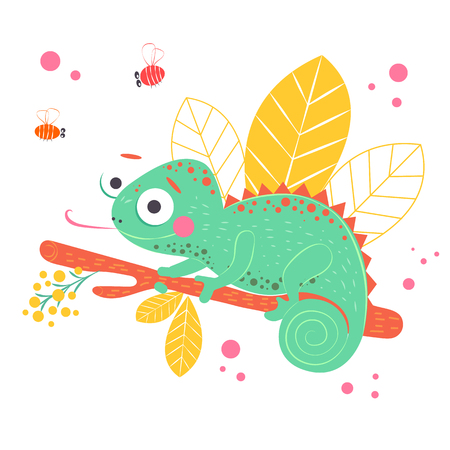 Cute green chameleon sitting on the orange branch with light yellow leaves on background, vector illustration. Art poster for nursery or kids room poster. Illustration