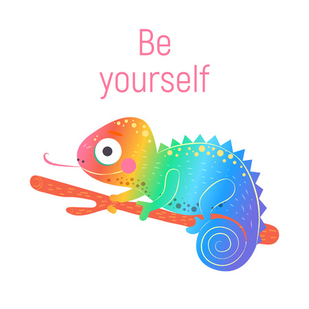 Cute rainbow chameleon sitting on the green branch and with pink word be yourself with white background, vector illustration. Art poster for nursery or kids room poster.
