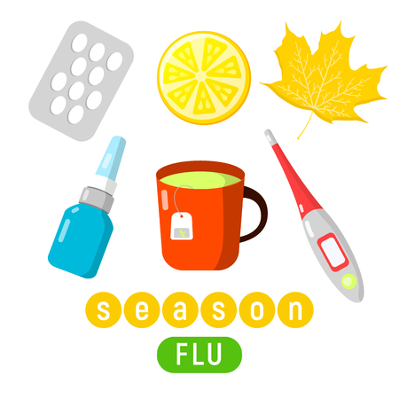Lovely set of cold and flu season items in vector flat design,hot beverage tea mug, lemon fruit, honey jar, aspirin pills, thermometer, nasal drops and autumn leaf. Ideal for health and medical flu season themed infographics, web publications, brochures and other printables.