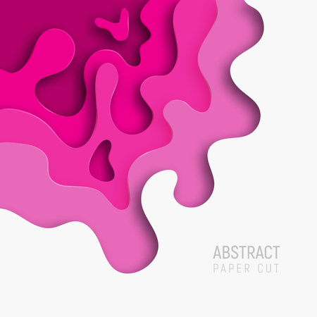 Paper cut pink background. Banners set with 3D abstract background and paper cut shapes. Vector design layout for business presentations, flyers, posters and invitations.
