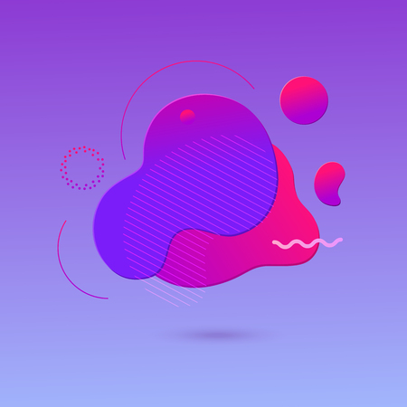 Trendy abstract background with the most popular color proton purple. Gradient shapes with geometric lines, dots. Fluid gradient shapes composition. Futuristic design posters.