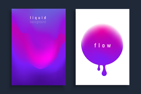 Set of poster covers. Vector trendy liquid colors backgrounds set with the most popular color proton purple. Trendy modern design. Colored fluid graphic composition illustration. Ilustracja