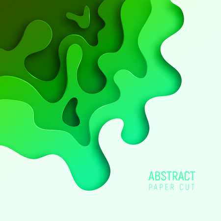 Banner with 3D abstract paper cut waves and background with the most popular color UFO Green. Vector design layout for business presentations, flyers, posters and invitations. Colorful carving art. Ilustracja