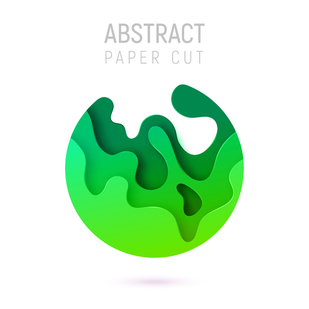 Banner with 3D circle abstract paper cut waves and background with the most popular color UFO Green. Vector design layout for business presentations, flyers, posters and invitations. Colorful carving art.