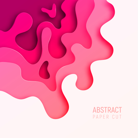Banner with 3D abstract paper cut waves and background with the most popular color Plastic Pink. Vector design layout for business presentations, flyers, posters and invitations. Colorful carving art. Ilustração