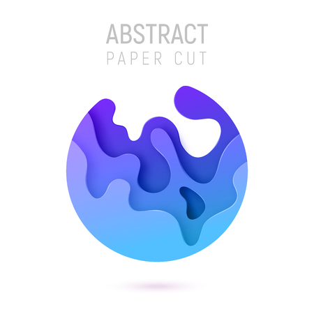 Banner with 3D circle abstract paper cut waves and background with blue color. Vector design layout for business presentations, flyers, posters and invitations. Colorful carving art.