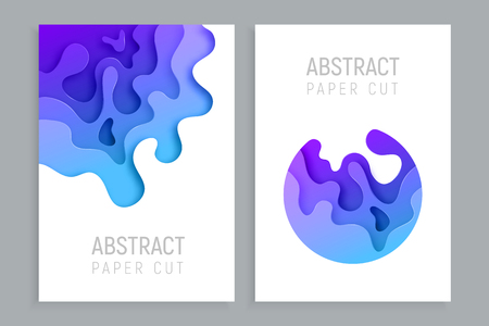 Vertical banners set with 3D abstract paper cut waves and background. Vector design layout for business presentations, flyers, posters and invitations. Colorful carving art.