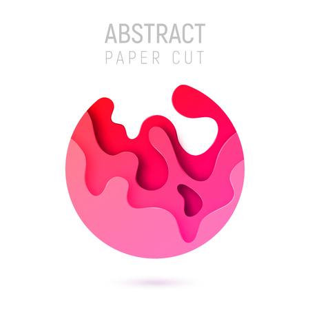Banner with 3D circle abstract paper cut waves and background with the most popular color Plastic Pink. Vector design layout for business presentations, flyers, posters and invitations. Colorful carving art. Ilustração