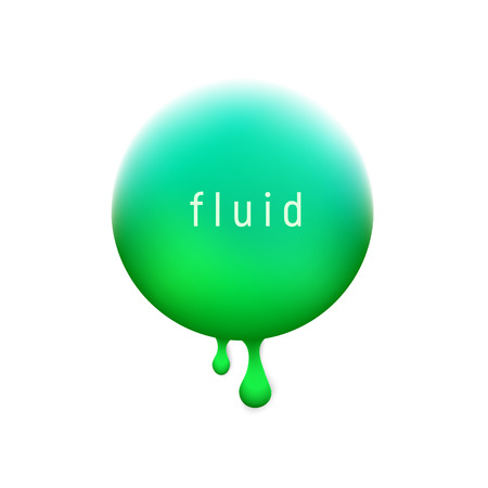 Vector trendy liquid circle background with the most popular color UFO Green. Trendy modern design. Colored fluid graphic composition illustration.