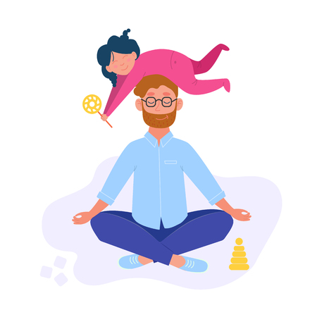 Man doing yoga and meditating visiting in a lotus pose with a cute naughty daughter on his head. Daddy and daughter. Illustration in vector