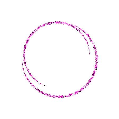 Abstract magical glowing purple banner. Round purple shiny frame with light bursts. Purple dust on celebratory banner. Vector illustration. Ilustração