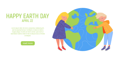 Happy Earth Day Banner. Little cute boy and girl are hugging planet. World environment day background. Save the earth. Green day. Vector illustration.