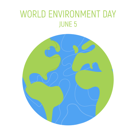 World Environment day concept. Save the earth. Green day. Concept design for banner, greeting card, t-shirt, print, poster. Vector illustration.