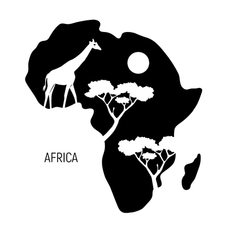 Africa. Black and white map of Africa continent with silhouette giraffe. Vector illustration.