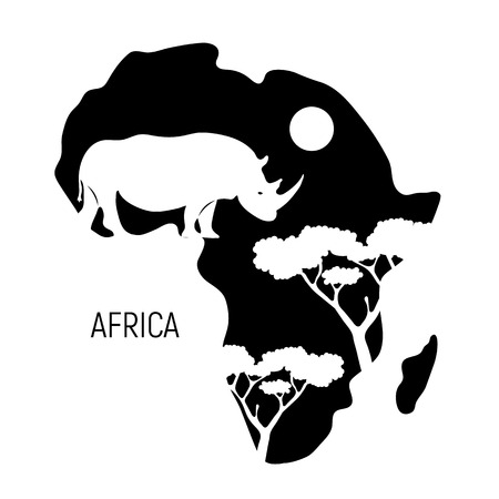 Africa. Black and white map of Africa continent with silhouette rhinoceros. Vector illustration.