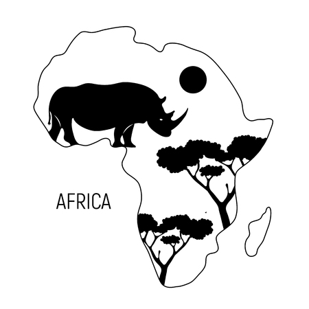 Africa. Black and white map of Africa continent with silhouette rhinoceros. Vector illustration. Zdjęcie Seryjne - 122894202