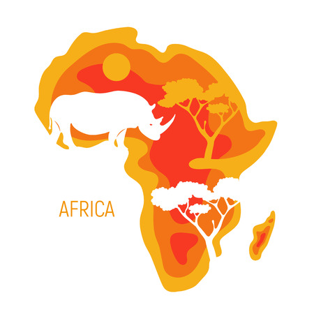 Africa. Map of Africa continent with silhouette rhinoceros. Paper cut eco friendly design. Vector illustration. Zdjęcie Seryjne - 122894203