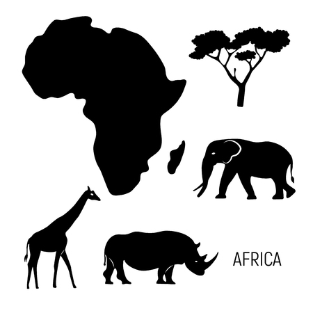 Africa. Black and white map of Africa continent with wild animals silhouettes - elephant, rhinoceros, giraffe. Eco friendly design. Vector illustration.